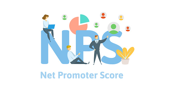 NPS, Net Promoter Score. Concept with keywords, letters and icons. Flat vector illustration on white background.
